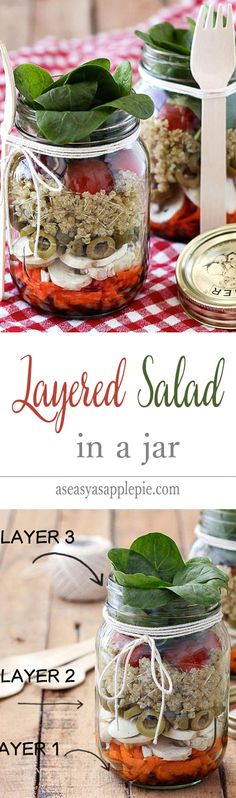 Layered Salad In a Jar: when the ingredients are packed correctly, everything stays crisp and fresh up to 5 days