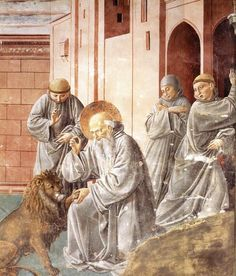 Benozzo Gozzoli >> St Jerome Pulling a Thorn from a Lion's Paw  |  (Frescoes, artwork, reproduction, copy, painting).