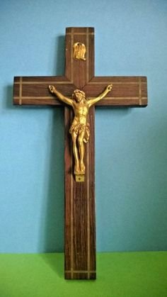 Vintage French Wooden Crucifix with Brass Inlay - Wall mountable