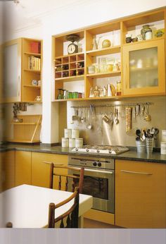 Good open eall cupboards, good work around of column and how did they use the plate rack on the counter. If dishes wet, water on counter. If dishes dry, takes up too much room on counter and clumsy plate storage.
