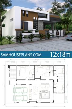 Home Design with 4 Bedrooms - Sam House Plans Single Floor House Design, Small House Floor Plans, Simple House Design, House Front Design, Modern House Plans, Modern House Design, Bungalow House Design, D House, Story House