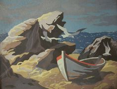 SOLD!!! Paint by Number PBN Mid Century Boat on the Beach Ocean Scene Vintage Painting, $25.00 SOLD!!!
