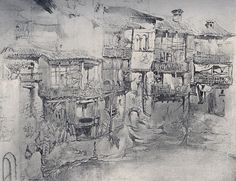 An Italian Village by John Ruskin,  (1819-1900). Watercolor or pencil and wash