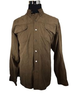 RedHead Long Sleeve Soft Suede Shirt Mens Size LARGE Brown Button Down Polyester #RedHead #ButtonFront