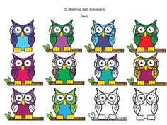 """FREE Clip Art Owls- cute!! ....Follow for Free """"too-neat-not-to-keep"""" teaching tools & other fun stuff :)"""