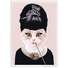 Welcome to the pet star collection. Audrey Hepburn Cat.  My original artwork is printed on high quality CLAIREFONTAINE fine art 170 g matt paper, with Epson DuraBrite Ultra Ink. This professional ink gives high performance print quality and longevity which guarantees not to fade for 100 years. Every artwork is handsigned and dated. No frame is provided. Ready to ship. As not all computer screens are the same, colors or contrast might vary slightly from actual artwork. - S I Z E - Size: 11.7…