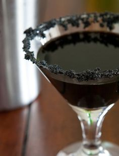 The Morticia Martini - http://www.bettycrocker.com/recipes/black-widow-martini/343a3ae7-5867-4d36-8bd5-008fd6279263