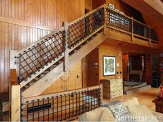 Neat stair rail idea going to Keith's office.