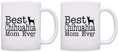 Dog Lover Gifts Best Chihuahua Mom Ever Puppy Supplies 2 Pack Gift Coffee Mugs Tea Cups White -- Don't get left behind, see this great product : Coffee Mugs