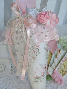 shabby Tussie Mussie filled with little tags