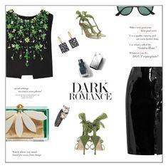 """Dark Romance"" by frenchfriesblackmg ❤ liked on Polyvore featuring Bottega Veneta, Todd Pownell, Topshop Unique, Miu Miu, Charlotte Olympia, Ray-Ban, Alberta Ferretti and Burberry"