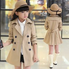 Buy Spring Autumn Girls Trench Coats Fashion Kids Windbreaker Girl Jacket Teenager 4 5 6 7 8 9 10 11 12 13 14 15 Years at Wish - Shopping Made Fun Girls Trench Coat, Trench Coat Style, Trench Coats, Baby Girl Jackets, Kids Coats, Girl Falling, Cute Outfits For Kids, Sweater Jacket, Kids Fashion