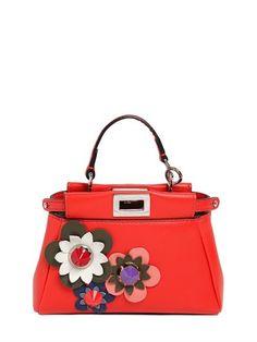 43108750f3c Micro Peekaboo Flower Appliqués Bag Fendi Micro Peekaboo, Orange Bag,  Orange Handbag, Snap