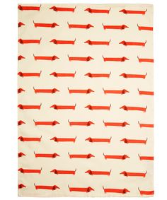 Fenella Smith Cream Dachshund Print Tea Towel | Kitchenware by Fenella Smith | Liberty.co.uk