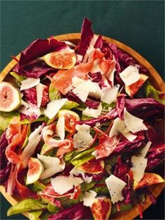 Red-leaf, Fig and Serrano Ham Salad: This salad takes mere minutes to make, and yet it is enduringly beautiful. I don't overstate the case; there is something positively painterly about the delicate heaping of dark red leaves, red-bellied figs, and deep pink ham. I love the sharpness of Manchego, dropped in feathery shavings among all this.