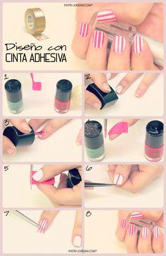 DIY: Decora tus uñas. Hazlo tu misma de una manera muy fácil y rápida con cinta adhesiva.