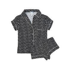 Eberjey Sleep Chic Short PJ Set ($138) ❤ liked on Polyvore featuring intimates, sleepwear, pajamas, black foxtail, short sleepwear, black lingerie, short pajamas, lingerie pajamas and long pajamas