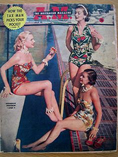 Cool patterned Australian Swimsuits !!  I wish I could find one like the halter suit.  It's cute and covers quite a bit.
