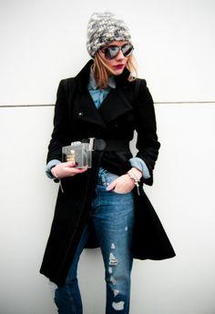 Black coat and knit beanie