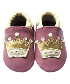 Forgotten Princess Dust Pink & Gold Crown Leather Crib Shoe | zulily