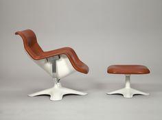 Yrjö Kukkapuro, Easy Chair Karuselli with Ottoman, 1960. Leather and fiberglass. jwb