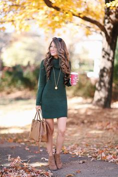 Green Knit Dress + Brown Ankle Boots