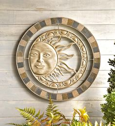 Metal and Stone Sun Wall Art in Patio Wall Hangings