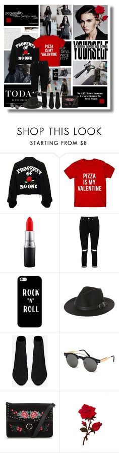 """""""A single rose can be my garden... a single friend, my world"""" by kikusek ❤ liked on Polyvore featuring Stop Staring!, Levi's, MAC Cosmetics, Boohoo, Casetify, Rusty, Yves Saint Laurent, Spitfire, blackandwhite and rock"""