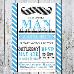 Little Man Birthday Invite--First Birthday Invitation