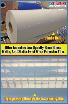 Uflex Limited has engineered Low Opacity, Good Gloss White Anti-static Twist Wrap Polyester Film FLEXPETTM F-WTG-AS. This bi-axially oriented polyethylene terephthalate (BOPET) Film as the name suggests is low opaque/ translucent and has good gloss.