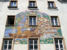 Learning about a town's history by searching for historical murals: While walking through Hallein I came across this mural telling about the transport of salt boxes along the Salzach River. History of salt mining in Hallein (Timeline) Hallein (Wikipedia) Visit Austria, Jasper National Park, Rural Area, Central Europe, Town Hall, Salzburg, Alps, Places Ive Been, My House