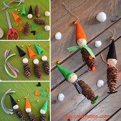 {DiY} Christmas deco little leprechauns in pine cones ! Pine Cone Art, Pine Cone Crafts, Pine Cones, Noel Christmas, Christmas Crafts, Christmas Ornaments, New Year Diy, Kobold, Pinecone Ornaments