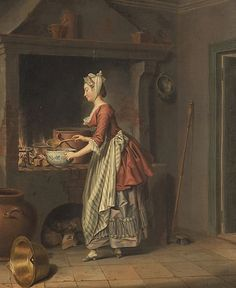 A Lady at the Hearth « Sifting The Past Pehr Hilleström painted in the late 18th century Sweden, by the looks of her outfit this might be 1790′s or so.  It has any number of great details to study: a raised hearth,  various cooking vessels,  the mortar and pestle,  the storage jars, coffee grinder, the colander, trivet, spoon, bowl, unlined brass pot, and broom.