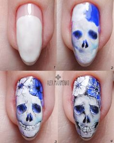 Halloween - Easy Make Up Skull Nail Art, Skull Nails, Nail Art Diy, Diy Nails, Halloween Nail Designs, Halloween Nail Art, Halloween Halloween, Love Nails, Pretty Nails