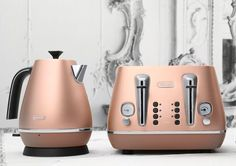 russell hobbs copper toaster and copper tea kettle. These are just perfectly beautiful pieces! One heck of a wedding present (or housewarming) for my copper-loving daughter's kitchen.