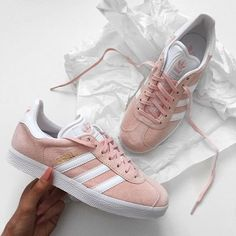 One of our favourites! Adidas Gazelle trainers in light pink | shoes | sneakers | fashion | camden | white | classic | lifestyle | instagram | trainers | shop | bestseller | womens shoes | mens shoes www.scorpionshoes.co.uk
