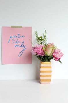 DIY Gold Stripe Flower Vase