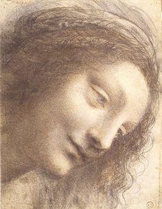 Amantes del Arte Leonardo da Vinci, Cabeza de la Virgen, tres cuartos hacia la derecha, 1508-1512. Carboncillo, tiza negra y roja, trazos de lápiz y tinta marrón en la parte superior derecha, 20,3 x 15,6 cm, MET,  Nueva York
