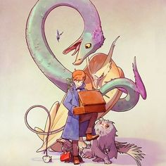 Newt Scamander, the magizoologist, and his fantastic beasts team.  #newtscamander #newt #wizard #magizoologist #fantasticbeasts #watercolor #digitalart #case #thunderbird #demiguise #billywig #niffler #occamy #bowtruckle #movie #work #geek #jkrowling #characters #drawing #illustration #trainer #pokemontrainer #pokemon #magic #art #digitalart #lira #ricardolira