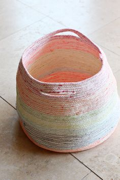 machine sewn rope baskets with multi colored thread \\ by Elise Joy