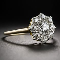 Victorian Diamond Cluster Engagement Ring - Vintage Diamond Engagement Rings - Vintage Engagement Rings