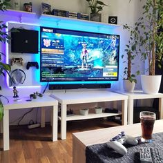 33 Fun Video Game Room Design Ideas For Gamer's Vibe 33 Fun Video Game Room Des… – Game Room İdeas 2020 Fun Video Games, Video Game Rooms, Living Pool, Living Room Setup, Game Room Design, Gamer Room, Ikea Curtains, Computer Setup, Computer Gaming Room
