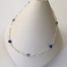 Lapis Beaded Anklet Blue Mystic Quartz Sterling by BeachGirlBeads, $25.00