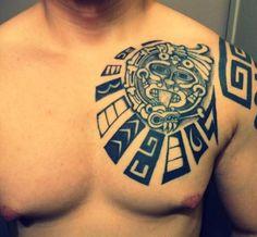 Mayan Chest Plate Tattoo Design