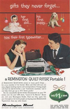 1957 Christmas Ad Remington QuietRiter Portable by MyPaperedPast, $6.00
