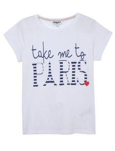 Teens White Take Me To Paris T-Shirt