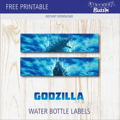 These free printable Godzilla water bottle labels are the perfect way to add unique themed touch at a party. Use our templates to decorate bottled drinks and have them match the theme. Godzilla Party, Godzilla Birthday Party, Birthday Party Themes, Chocolate Bar Wrappers, Water Party, Water Bottle Labels, Party Signs, Party Items, Party