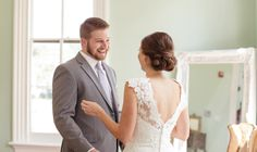 Merrimon Wynne House Wedding - Bride and Groom First Look - Three Little Birds Studio Photography - NC Wedding Planner Orangerie Events