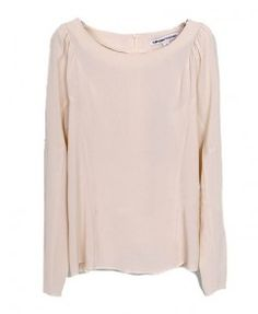 Round Neckline Chiffon Blouse with Puff Sleeves