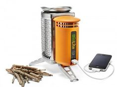 Too funny. {Wood-Burning iPhone Charger} Here's another one for the zombie apocalypse survival kit. You can now cook a pack of Ramen and charge your iPhone at the same time. You'll be able to eat some noodles while making a call on your wood-smoke-smelling phone from the backcountry (provided cell towers still have power). The BioLite CampStove converts heat generated from your stove into electricity to charge USB gadgets. I suspect it's not the most efficient charger in the world, but it's the only one that will still works off a campfire.